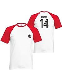 Johan Cruyff14 hommes Baseball TShirt Holland Football Retro