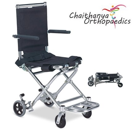 FC Mini Portable Transit Wheelchair with Seat belt & Leg Strap (Transport Wheelchairs 6KG)