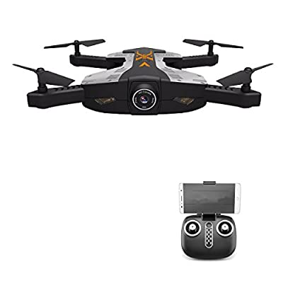 POBD RC Drone, Foldable Wifi FPV Quadcopter, 2.4GHz 6-Axis Remote Control 4CH Helicopter, with 120Degree Wide Angle 2MP 720P HD Camera, LED Lights PB-112W