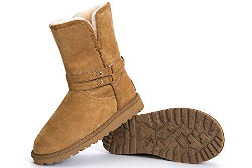 OZZEG femmes bottines hiver neige bottes chaudes, doublure en cuir véritable brun