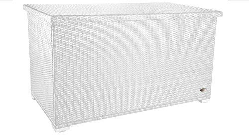 amieli 'EZIO' Garten Kissenbox wetterfest (950 Liter, L/B/H: 146 x 83 x 80 cm) Premium Polyrattan Auflagenbox mit integrierter Tischplatte, stabiles ALU Gestell mit verstärktem Deckel als Tischplatte nutzbar, 2 x Gasdruckstoßdämpfer - Farbe: Weiß (Aluminium-aufbewahrungsbox)