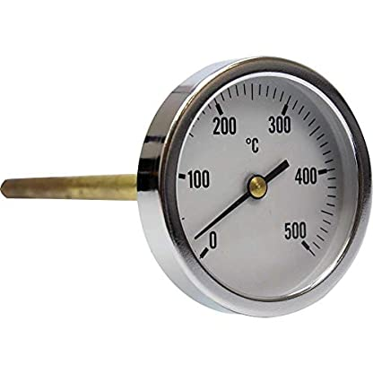 Termómetro para horno de leña, escala de 0 a 500ºC con vaina de 30 cm