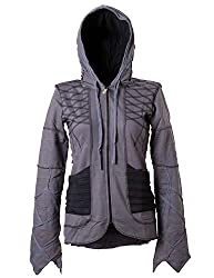 Vishes - Alternative Bekleidung - Kurze Goajacke aus Baumwolle mit Kapuze grau 40/42