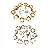 MagiDeal 20 Stück Sonnenblume Perlen Nieten Ziernieten Hohlnieten DIY Rundnieten set für Kleidung Schuhe Taschen Dekor