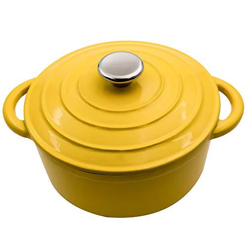Aidea Dutch Oven Emaillierter Gusseisen-Ofen, rund, Keramikbeschichtung, oval, französischer Ofen, mit selbstbrättendem Deckel, 1,7 l 3-Quart gelb