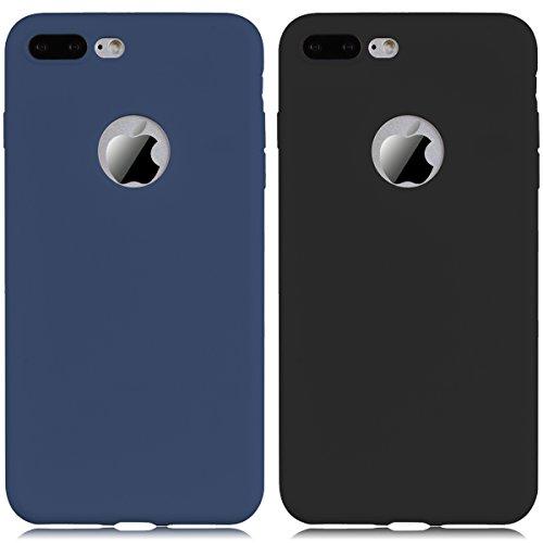 iPhone 7 Hülle, Yokata Einfarbig Jelly Weich Silikon Gel Case Ultra Slim Matte Cover Anti-Fingerprint Schutzhülle Sehr Dünn Handyhülle - Rosa Navy Blau + Schwarz