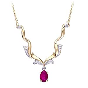 Naava 9 ct Yellow Gold Diamond and Ruby Women's Necklace of 45 cm