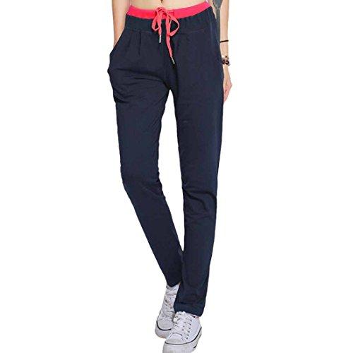 QIYUN.Z Sport Fitness Femmes Pantalons Taille Longue Cordon Extensible Pantalon Droit Occasionnels Bleu Fonce