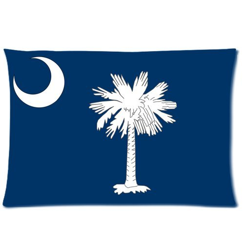 Fashion Home Decoration Pillow cover Custom The state of South Carolina Flag American Flags Rectangle Pillow case 20 x 30 (One Side)