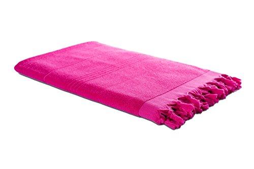 Carenesse Hamam-Tuch 2in1 pink, Handtuch und Hamamtuch in einem, 100% Baumwolle, 90 x 190 cm, Fouta Pestemal, Saunatuch, Strandtuch, Badetuch, Turkish Towel - Hamam Handtuch