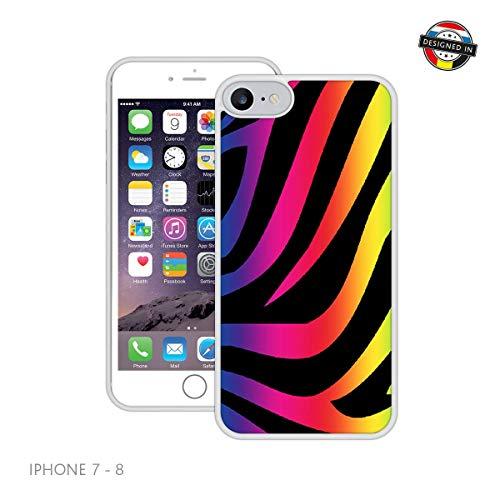 bogen-Zebra-Druck | Handgefertigt | iPhone 7, 8 (4,7') | Weiß Hülle | Extra Grip + Stoßfest ()
