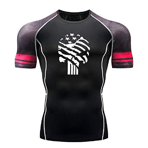 GERPY Herren T-Shirt Star Skull Enge Sport Fitness Kurzarm Sport unten Strumpfhosen -