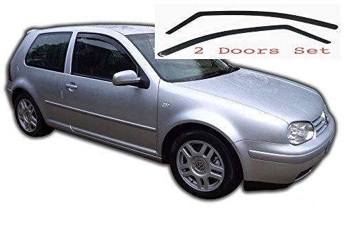 2x Deflectores de Aire V W Golf 4 1997-2004 MK4 3-Puertas Derivabrisas ajuste interior protección sol lluvia nieve viento