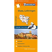 Michelin Elsass Lothring: Straßen- und Tourismuskarte 1:200.000 (MICHELIN Regionalkarten)