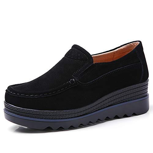 HKR Damen Mokassin Bootsschuhe Wildleder Loafers Fahren Flache Schuhe Halbschuhe Slippers Schwarz 39 EU