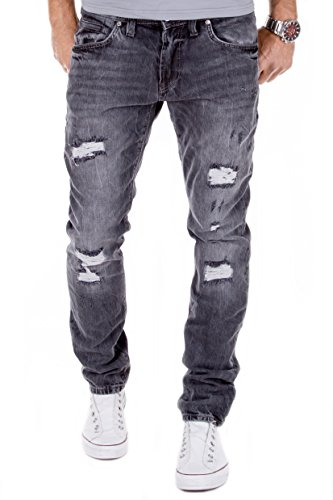 MERISH Herren Jeanshose Destroyed Used Look Chino Regular Fit Jeans Hose Neu J728 Anthrazit 32/32
