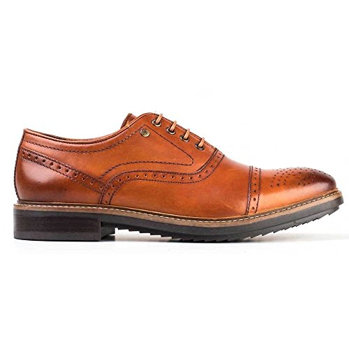 MENS BASE HARDY WASHED TAN LEATHER OXFORD BROGUE LACE UP OFFICE FORMAL SHOES -UK 7 (EU 41)