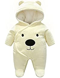 982fc8bc53b8 Minizone Baby Hooded Rompers Flannel Winter Outfits Boys Girls Snowsuits  Feet…