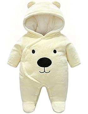 Baby Overalls mit Kapuze Winter Flanell Strampler Spielanzug mit Füße Karikatur Jumpsuit für 0-12 Monate