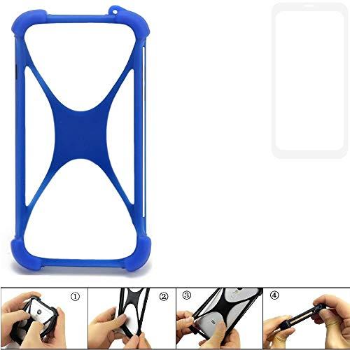K-S-Trade Bumper für Vestel V3 5580 Dual-SIM Silikon Schutz Hülle Handyhülle Silikoncase Softcase Cover Case Stoßschutz, blau (1x)