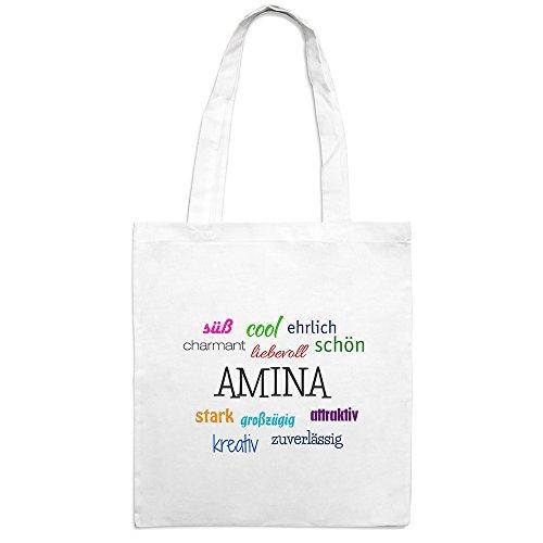 Jutebeutel mit Namen Amina - Motiv Positive Eigenschaften - Farbe weiß – Stoffbeutel, Jutesack, Hipster, Beutel