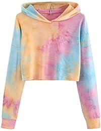 Damark(TM 2018 Otoño Impresión Mujer Sudadera, Sudaderas con Capucha Cortas para Mujer Camisetas Mujer Blusa Tops Sudadera Mujer-9