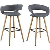 AC Design Furniture Jack-Sgabello in tessuto, con struttura in legno, colore: grigio scuro - Arredamento - Confronta prezzi