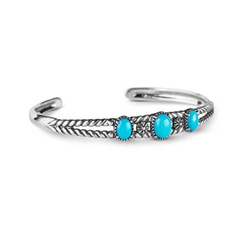 American West Sterling Silver Multi Gemstones Choice of 4 Different Colors Thee Stone Friendship Cuff Bracelet Size S, M or L