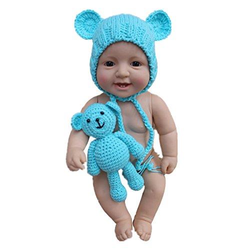 rafie Hut Strickmütze mit Puppen Bär Neugeborene Kostüm Outfits (Blau) (Das Beste Kostüm Angebote)