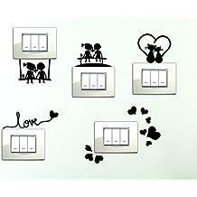 StickerDesign Adesivi per interruttore 5 Pezzi spine placche Adesivo BAMBINI SULLA PANCHINA ALTALENA LOVE CUORICINI GATTINI E CUORICINO Wall Stickers decorativo Decorazione Cameretta interni Casa Adesivo Murale