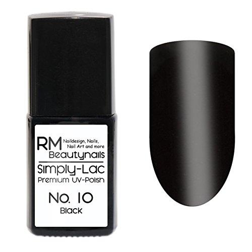 Simply-Lac Premium UV-Polish Nr. 10 Black Schwarz 10ml Nagelgel UV-Nagellack RM Beautynails