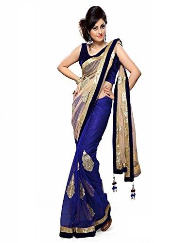 Janasya Women\'s Net Half And Half Saree(PSM0185_Blue_Free Size)