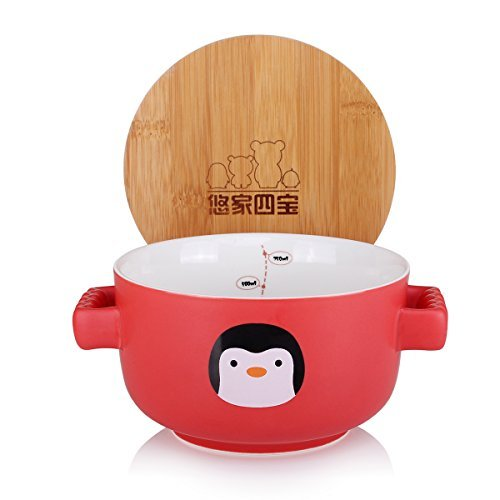 UTPTYLE dessin animé mignon bol en céramique micro-ondes bol bol de soupe bol de nouilles instantanées bol de céréales salade fruits bambou couverture (pas four à micro-ondes) rouge