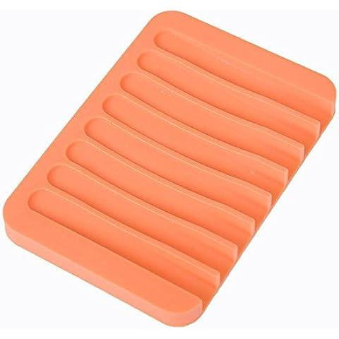 XXTT-Drenaje de silicona casera creativa Jabonera, ducha jabón jabón, cojín de jabón-slip de baño , orange red