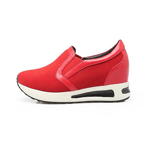 VogueZone009 Femme Tire Matière Mélangee Rond à Talon Correct Couleur Unie Chaussures Légeres Rouge