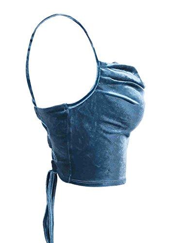 l'abbigliamento delle donne simplee velluto merletto tornare criss tank cami maglietta attillata. Blu