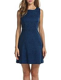 Zeagoo Damen Elegant Partykleid Festliche Kleider Jacquard Kleid mit  ausgestelltem Saum 9a6dccb0e8