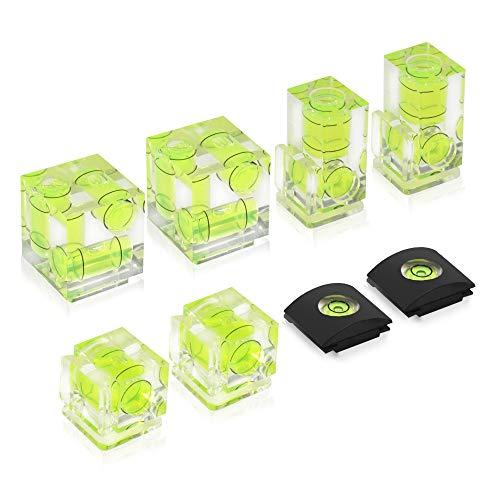 UTEBIT Wasserwaage Set 8 Stück (1+2+3 Libelle) Blitzschuhabdeckung für Standard-Blitzschuh Blitz-Zubehör für Sony Alpha 6000, Canon, Nikon, Fuji, DSLR/SLR/Evil
