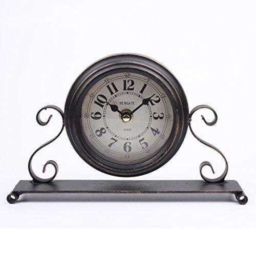 Dannto Standuhr Vintage Dekorative Shabby Antique Runde Tischuhr römische Zahl Metall für...