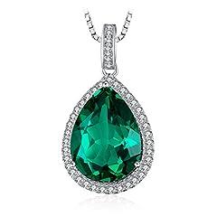 Idea Regalo - JewelryPalace Lusso Taglio Pera 7.4ct Verde Artificiale Nano Smeraldo Ciondolo Collana con Pendente Catena 45cm Argento Sterling 925