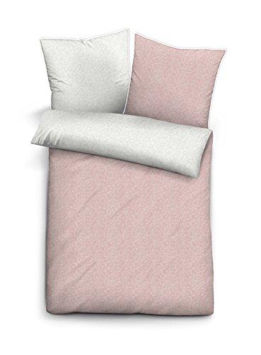 biberna Melange-Flanell-Bettwäsche, nach Öko-Tex-Standard 100, 80 x 80 + 135 x 200 cm, rosé (Bio-flanell-bettwäsche)