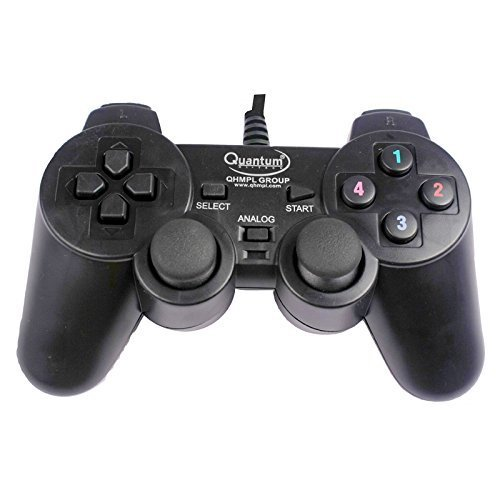 QUANTUM QHM7468-2V USB GAMEPAD (BLACK) Enjoy long, comfortable play sessions; thanks to smooth curves and grips.