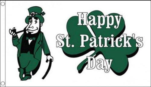 1,52 Meters x 0,91 Meters (150 x 90 cm, motivo St Patricks Day Irlanda Leprecano irlandese, trifoglio bianco, 100% poliestere, materiale bandierine ideale per la scuola, per Pub da feste,