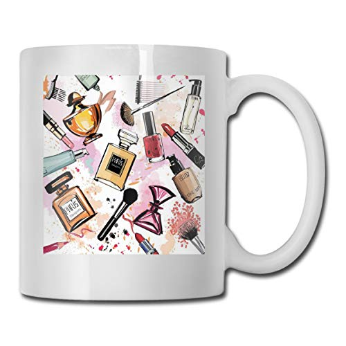 Jolly2T Funny Ceramic Novelty Coffee Mug 11oz,Cosmetic and Makeup Theme Pattern with Perfume Lipstick Nail Polish Brush In Modern Style,Unisex Who Tea Mugs Coffee Cups,Suitable for Office and Home - Fan Blender Brush