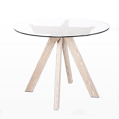 Adec - Mesa de comedor estilo nordic, acabado en cristal templado y color Oak, modelo Berg, diametro de 100 cm.