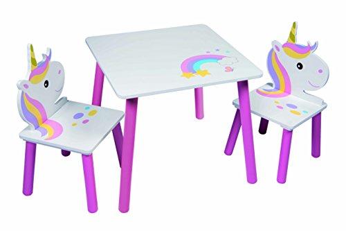 Tisch- und Stuhl-Set für Kinder, mit Einhorn-Motiv und 2 Stühlen, für Kleinkinder, Kindergarten, Spielzimmer, Möbel
