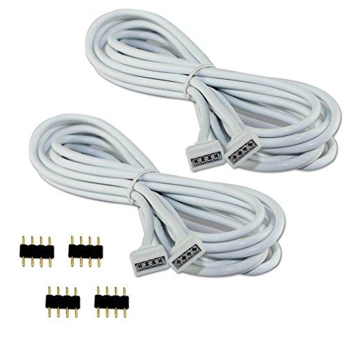 COOLWEST 2er-Pack 2M Verlängerung Anschluss Kabel für LED RGB-Strip 4 pin, Verbinder, geeignet für LED RGB Leiste Streifen -