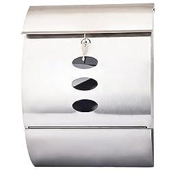 Wandbriefkasten Postkasten Briefkasten mit Zeitungsfach aus Edelstahl inkl. Montagematerial und 2 Schlüssel, rundes Design