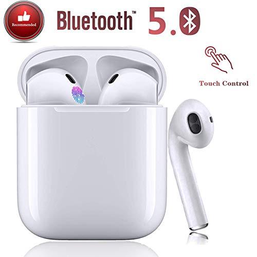 Casque Bluetooth 5.0,oreillette sans Fil, Microphone intégré et boîte de Chargement,réduction du Bruit 3D HD stéréo pour Casques Apple Airpods Android/iPhone/Samsung