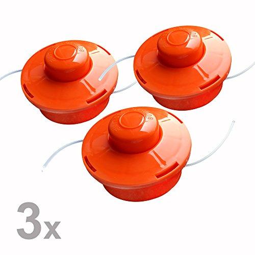 Nemaxx 3X FS1 Fadenspule mit Tippautomatik, Doppelfadenkopf für Benzin Motorsense - Rasentrimmer Fadenkopf, Freischneider Grasschneider, Zubehör Ersatz Spule - Orange
